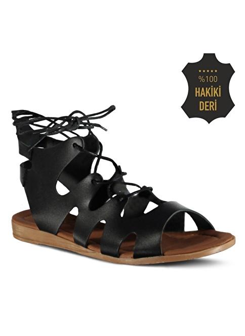 Marjin % 100 Deri Düz Sandalet Siyah